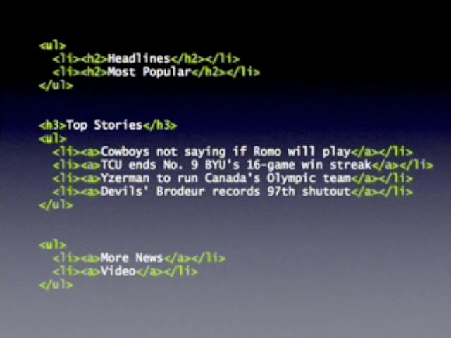 의미에 맞게 마크업 후, 이것이 모듈이므로, 모듈을 나타내는 DIV로 감싸고 유일한 id를 준다.