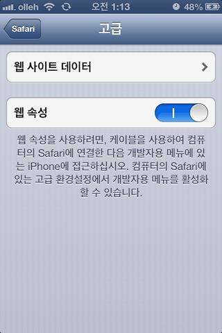 iOS Device 에서 설정 - Safari - 고급 - 웹 속성 활성화하기