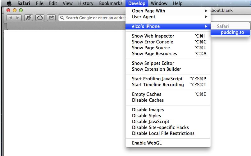Safari 6 의 개발자 메뉴에서 자신의 iOS Device 이름과 디버그할 웹페이지 타이틀이 보이나 확인하기